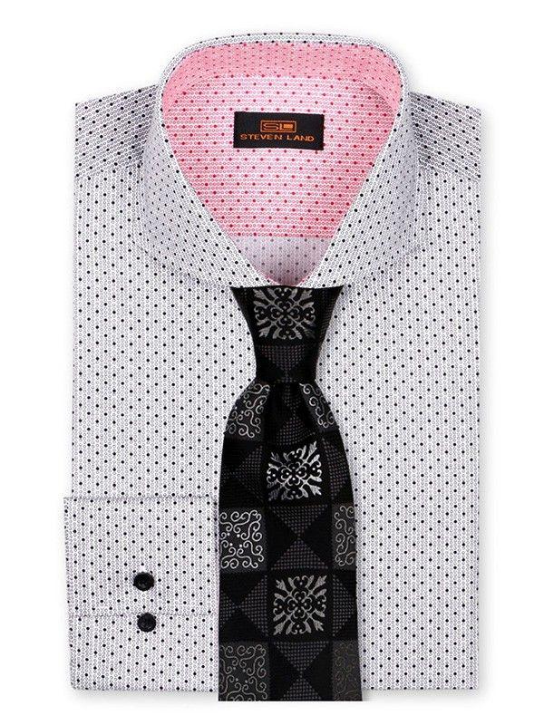 Men's Dress Shirt by Steven Land - Micro Dot Black/White a