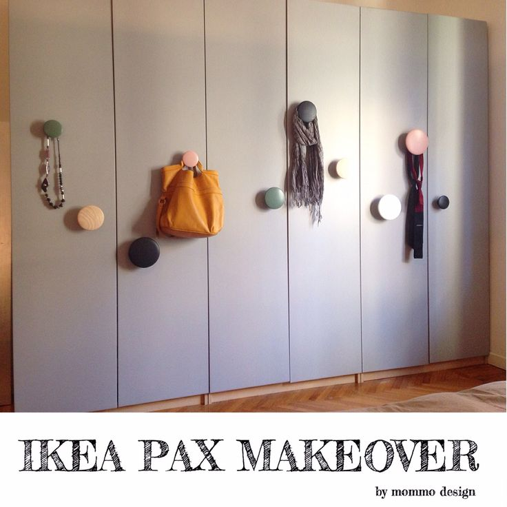Ikea pax wardrobe makeover using grey paint and Muuto dots