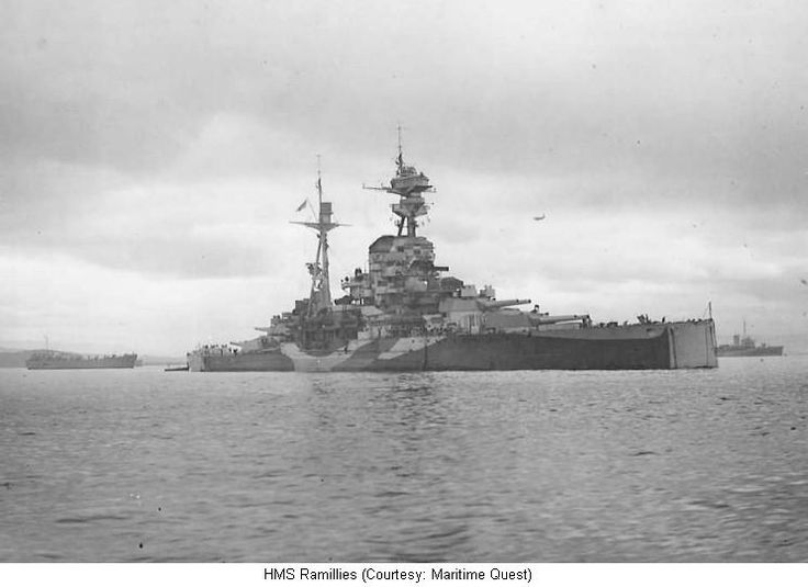 HMS Ramillies was one of five Revenge-class battleships built for the British Royal Navy during World War I. She was completed after the Battle of Jutland in 1916 and saw no combat during the war. She served with the Grand Fleet for the duration of the war.