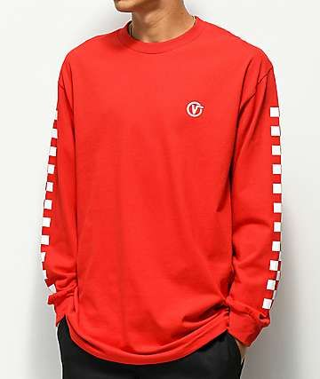 06877dade4a681 Vans Classic Circle V Red Long Sleeve T-Shirt in 2019 | my style ...