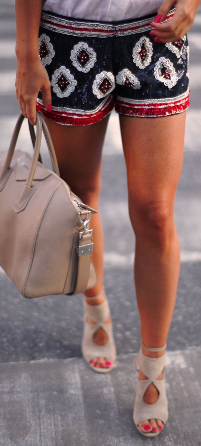 Zara Multi Embroidered Sequin Shorts