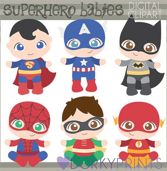 Superhéroe bebé Clip art-Personal y limitada por DorkyPrints