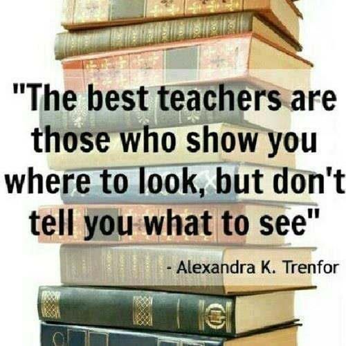 """The best teachers are those who show you where to look, but don't tell you what to see.""    Alexandra k. Trenfor"