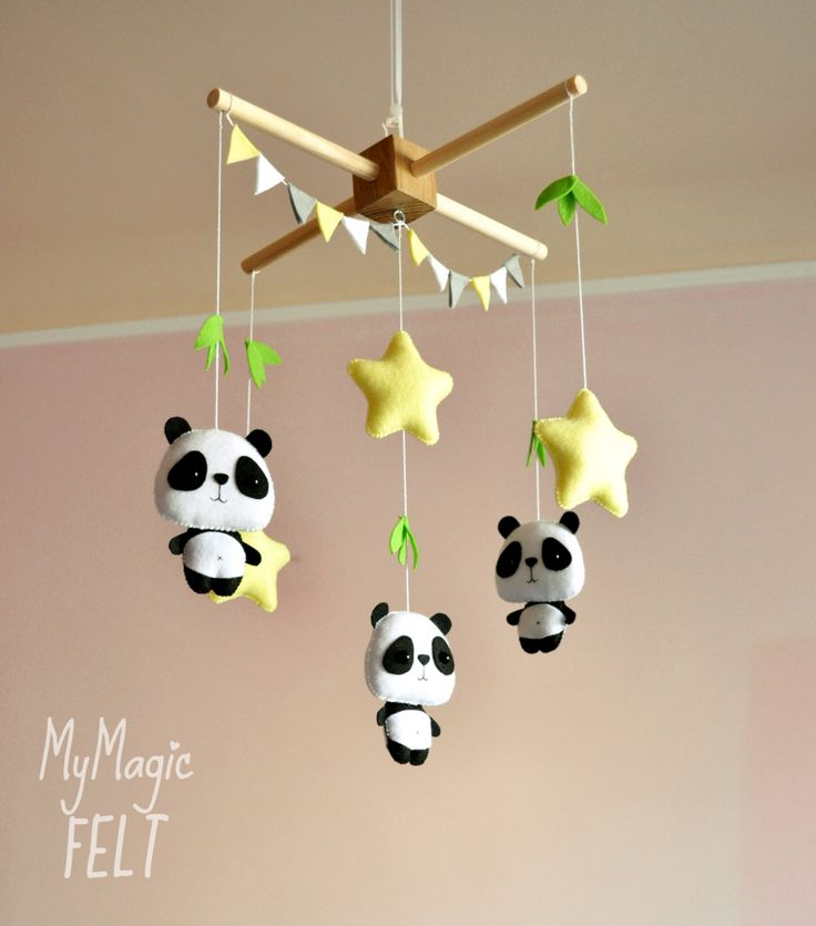 Baby mobile Panda and stars Crib mobile Nursery woodland mobile Stars mobile Panda baby shower gift (68.50 USD) by MyMagicFelt