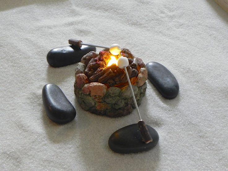 Fairy Garden Fire Pit accessories firepit with tea light flickering 'flame' - accessory for camp fire 2 marshmallow sticks 4 stone benches by TheLittleHedgerow on Etsy https://www.etsy.com/listing/233788136/fairy-garden-fire-pit-accessories