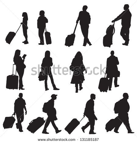 various isolated silhouettes of people travelling. Easily add colors to various areas of each figure.
