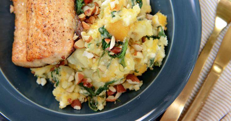 Höstigt potatisstomp med pumpa, spenat och fetaost. Serveras med stekt röding…