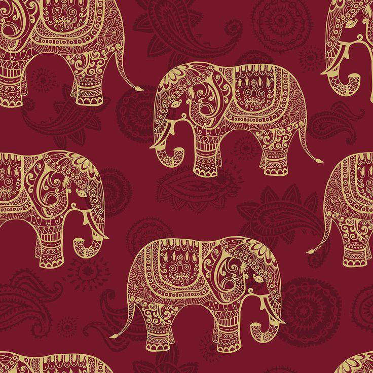 Gold Elephant Tile Wallpaper