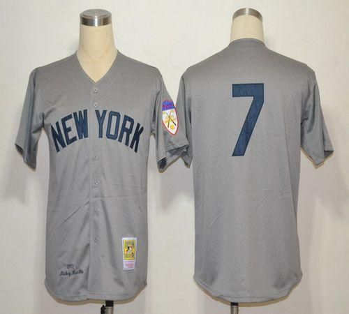 Mitchell And Ness 1951 Yankees  7 Mickey Mantle Grey Throwback Stitched MLB  Jersey db07c821d31