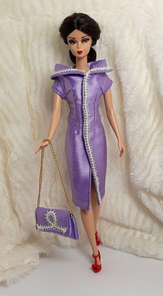 3006a3ec3b4c Handmade Purple Lace Silk Outfit Dress & Bag Handbag For Barbie Silkstone  Doll #Sitar_Large_Super_Rich