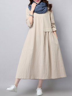 Long Sleeve Crew Neck Solid Buttoned Linen Dress