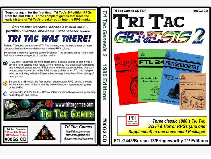 http://tritacgames.com Genesis 2  Never before electronically published 2nd editions of Tri Tac's signature products.  And a supplement.