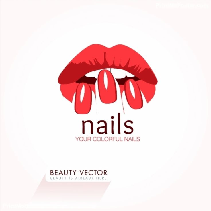 Red Nails and Lips business sign poster #poster, #printmeposter, #mousepad, #tshirt