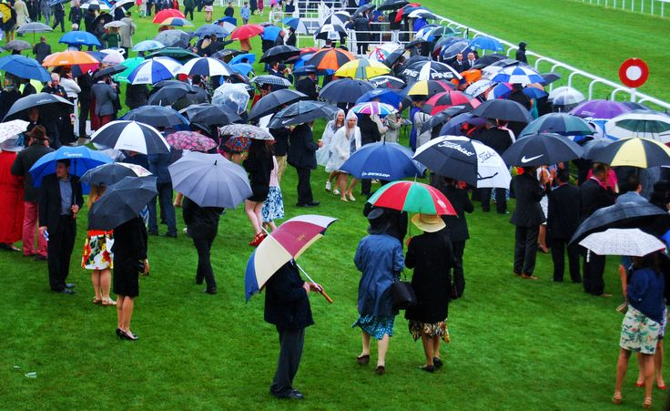 Looking at when individuals gather for a common cause; an event of some sort. In this case Horse racing. The umbrellas and bright flat green make the composition more interesting.