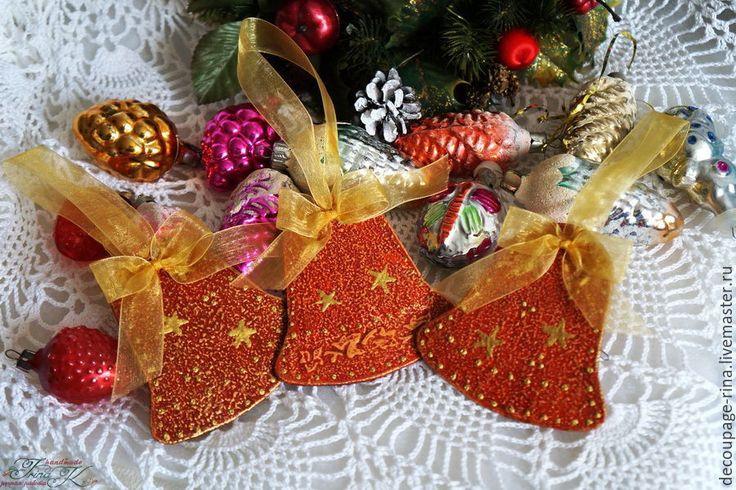 Купить Новогоднее украшение Колокольчики. Винтаж. Красное золото - колокольчик ручной работы, новый год 2016