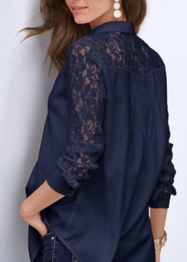 Back view lace yoke shirt