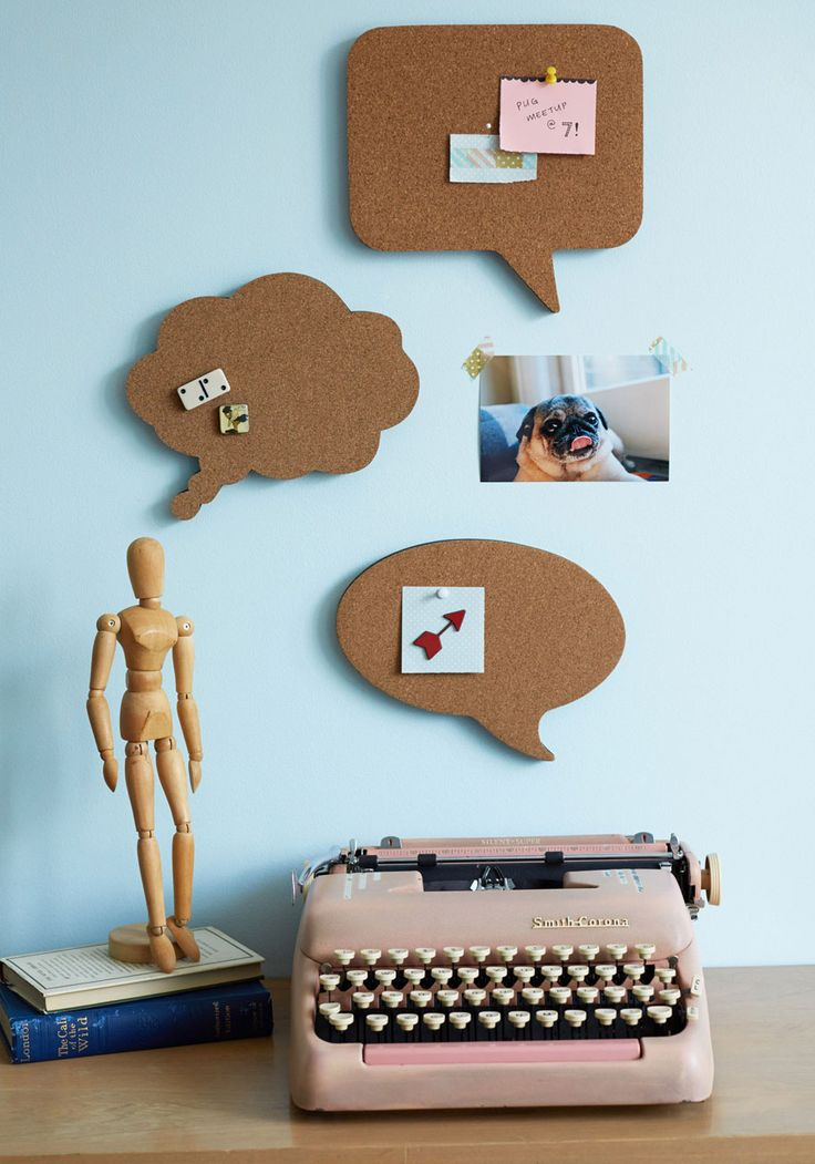 Conversation Starters Cork Board Set. Cluttered desk got your thoughts jumbled? #brown #modcloth