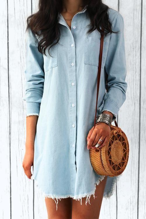 6c5501679220 Chicnico Casual Frayed Hem Long Denim Shirt  denimshirt  longshirt   frayedhem  TrendingFashion affiliate