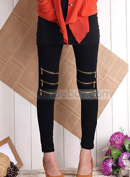 Luxury Korean Style CottonZippered Elastic Leggings : Tidebuy.com #pants #tidebuy reviews #korean style
