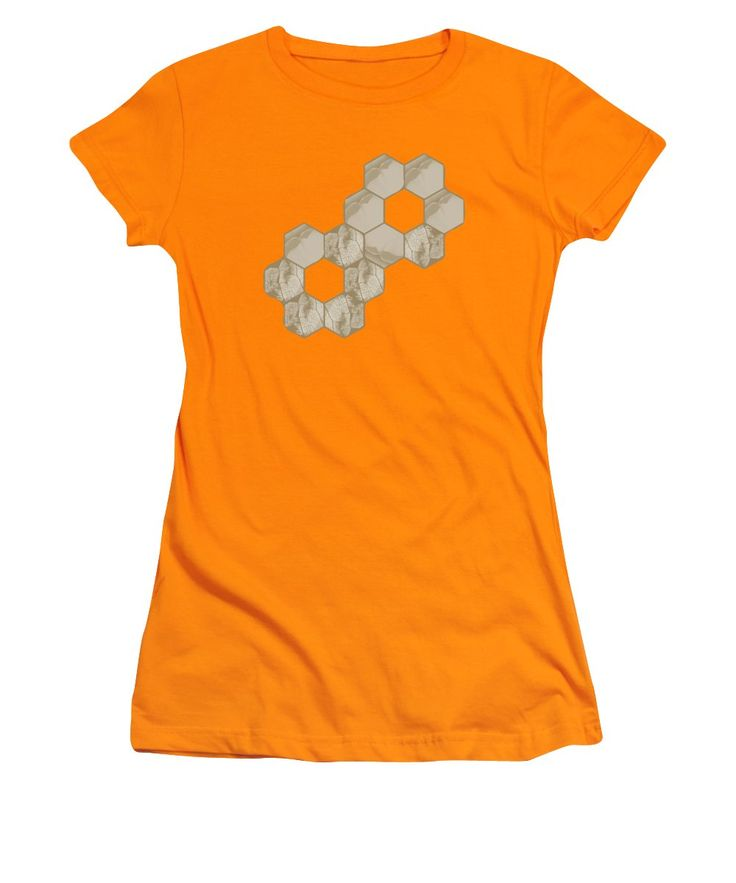 Purchase a junior t-shirt featuring the image of Hexagon Flower And Leaf In Orange by Sverre Andreas Fekjan.  Available in sizes S -…