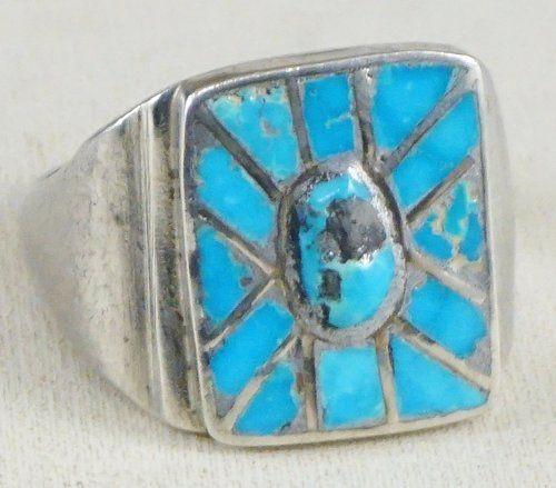 Item #901W- Handmade Vintage 20's-30's Zuni Turquoise Sunburst Inlay Silver Ring sz 12