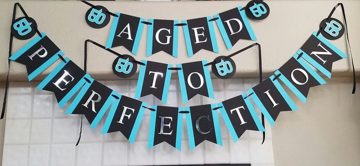 Black, turquoise and silver 50th Birthday Banner  50th Birthday Decorations, Men's 50th Birthday