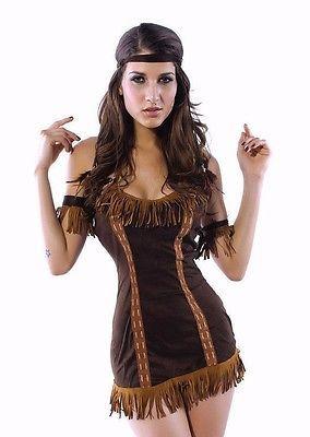 Pocahontas Sexy Native Indian Princess Brown Halloween Costume 8378