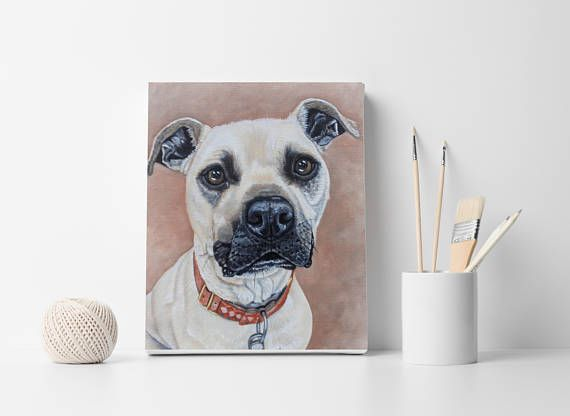 Custom Dog portrait Pet portrait Dog Painting Oil painting on