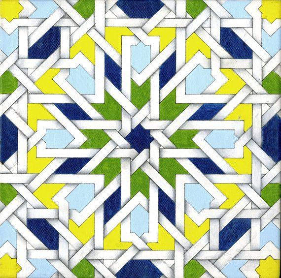 Islamic Weave Tile Print found on Etsy! https://www.etsy.com/listing/169908694/11-x-11-vibrant-islamic-tile-weave?
