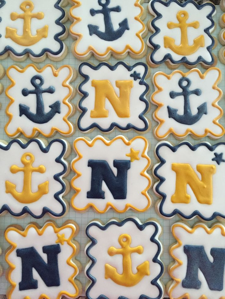 Decorated Navy cookies Decorated anchor cookies