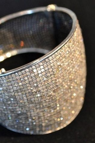 jewelry websites Rona Pfeiffer wide pave bangle