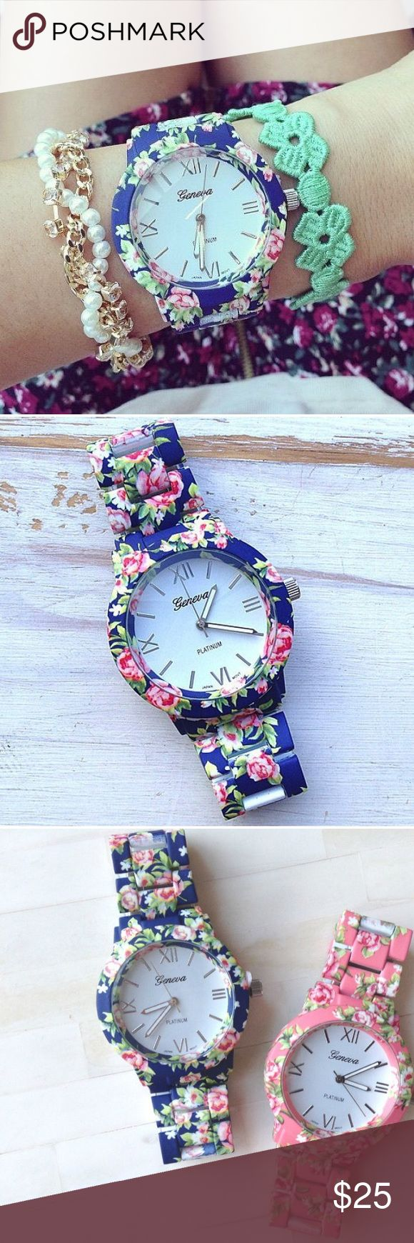Floral Large Face Arm Candy Watch Geneva Blue floral watch, brand new with tags. Comes in a Watch box. Steel water resistant frame. Tobi Accessories Watches