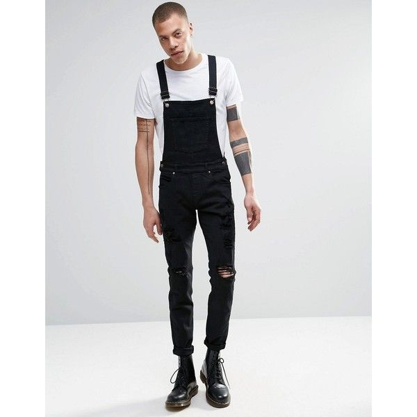 Dr Denim Ira Skinny Ripped Dungaree Jeans in Black ($105) ❤ liked on Polyvore featuring men's fashion, men's clothing, men's jeans, black, mens skinny jeans, mens super skinny jeans, mens distressed skinny jeans, mens dungaree jeans and mens skinny fit jeans