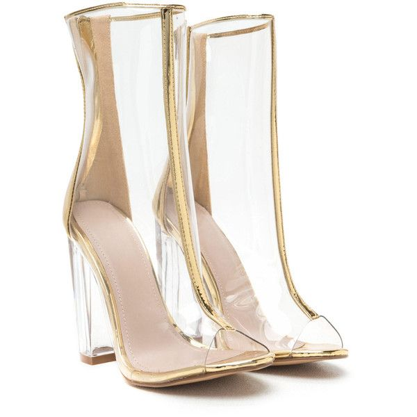 In The Clear Metallic Lucite Booties found on Polyvore featuring polyvore, women's fashion, shoes, boots, ankle booties, zapatos, clear booties, lucite boots, clear ankle booties and perspex boots