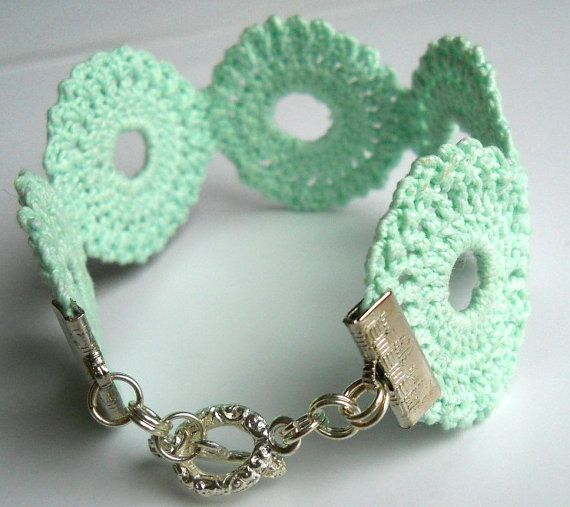 mint medallion crochet bracelet