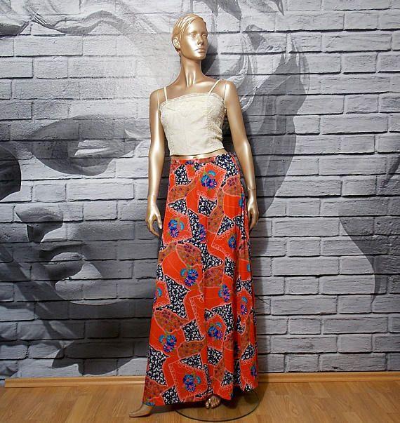 60s maxi skirt floral boho festival long red skirt hippie