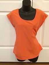 UK2LA Womens Short Sleeve Blouse Shirt TOP Small Coral Orange   eBay