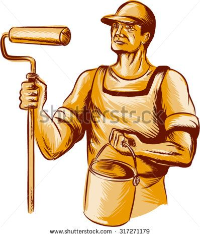 Etching engraving handmade style illustration of a house painter holding paint roller  and paint bucket can looking to the side viewed from front set on isolated white background.  - stock vector #painter #etching #illustration