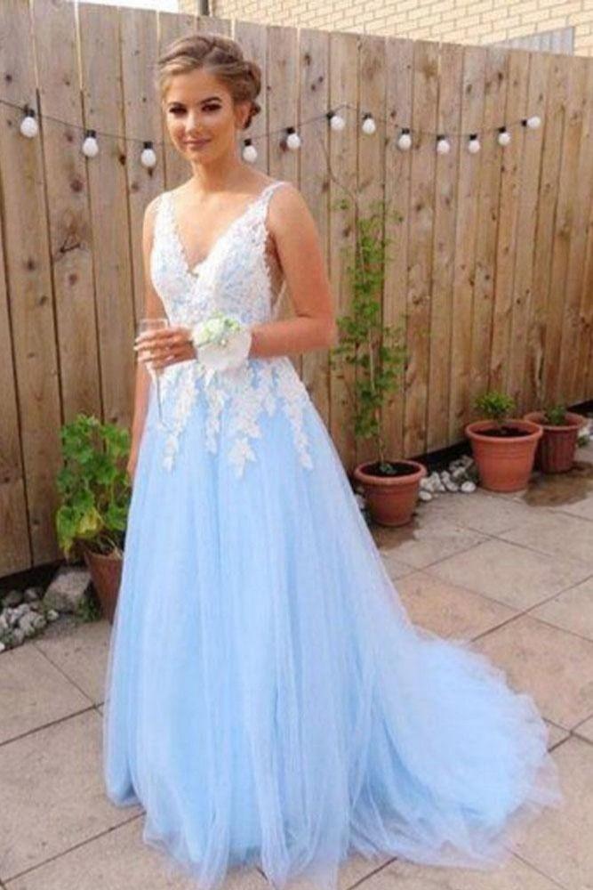 366a4c4873e Gorgeous A Line  VNeck Backless  SkyBlue  Tulle Long Prom Dresses OKF27