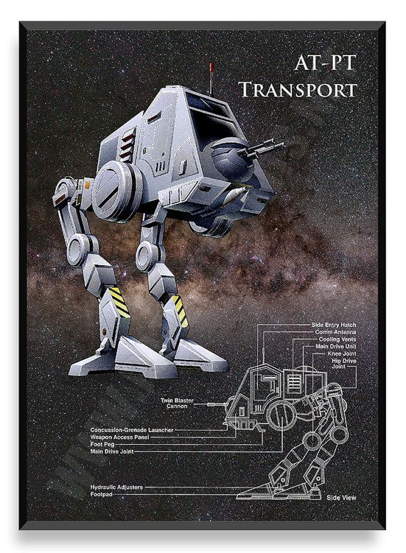 AT-PT transporte cartel nave de Star Wars por PatentPrintsPosters