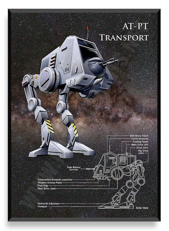 AT-PT transporte cartel nave de Star Wars por PatentPrintsPosters