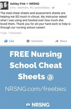 FREE Nursing school Cheat Sheets.  Click Image to sign up to get yours.  Covering a broad variety of nursing topics to help you on the clinical floor, on exams, to pass NCLEX, or just everyday nursing life. Topics covered - Fluid and Electrolytes,  Cardiac,  EKG,  Peds,  Hemodynamics,  Shock, Meds,  IV Fluids,  Nervous System,  Labs Meds,  and New material added weekly!