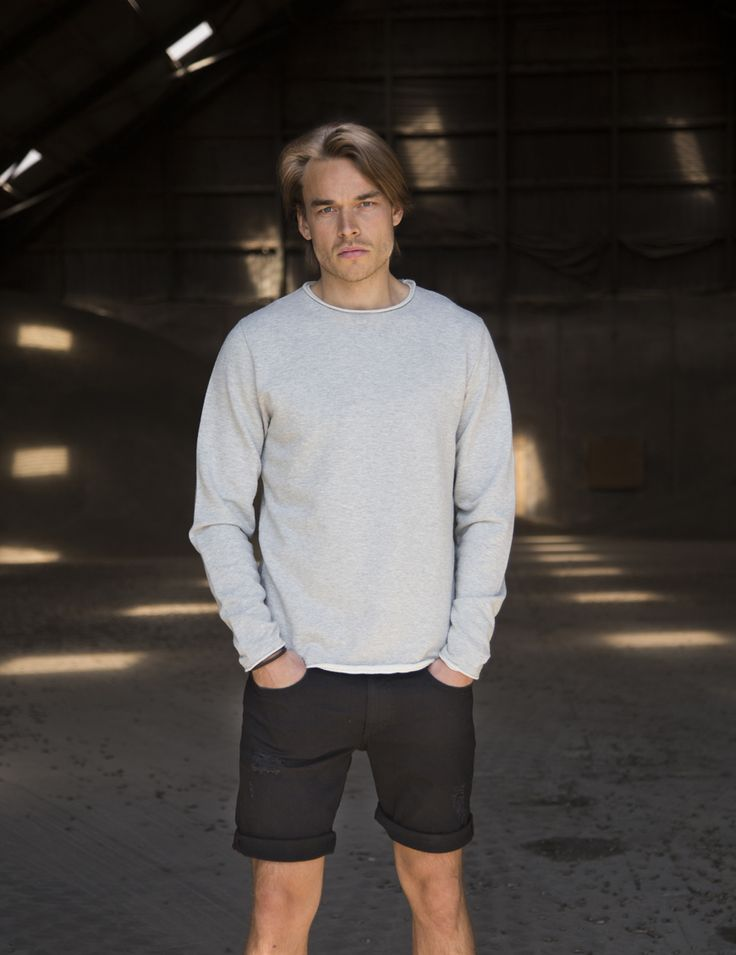 RVLT - men's fashion. This poly/cotton sweatshirt has rolled edges for a raw and contemporary look.