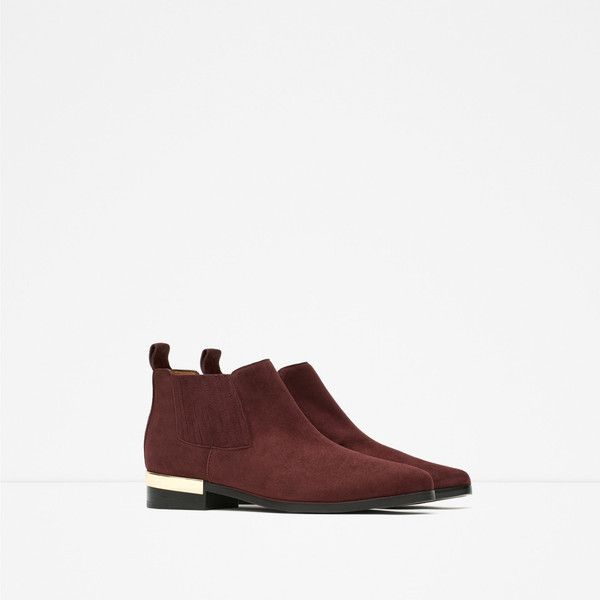 Zara Flat Leather Ankle Boots With Metal Plaque ($70) ❤ liked on Polyvore featuring shoes, boots, ankle booties, flat leather booties, leather boots, short boots, zara boots and flat bootie