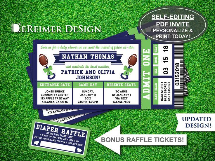 Sports Ticket Baby Boy Shower Invitation, Little All-Star, Football, Green, Blue, Self-Editing PDF Invite, BONUS Diaper Raffle Tickets