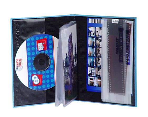 """Item # 9951728 & 9956437: All-in-One Mini Albums! Perfect for storing your photos and CD of digital photo files! Clear, Double-sided, Sealed-In Pages; Holds 24 - 4"""" x 6"""" Photo Prints. Includes inside cover pockets for CD and Negatives. Available Only at your Local Walmart Photo Center!"""
