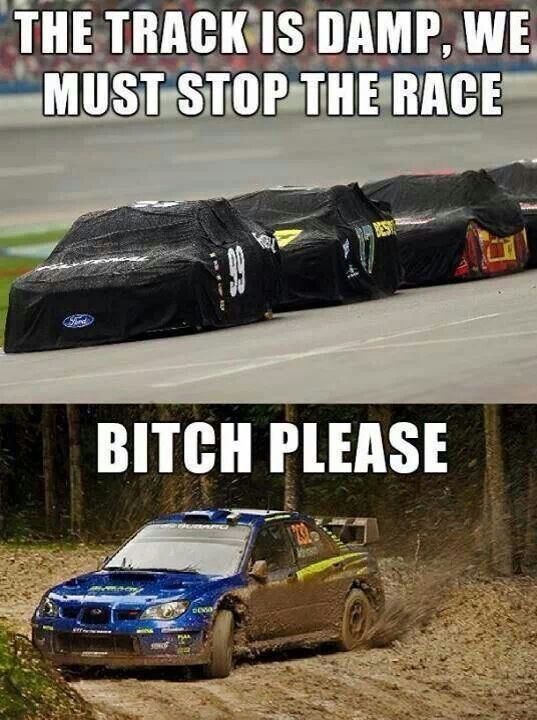 HA:) Subaru Impreza Fun - The track is damp, we must stop the race. BITCH PLEASE :) #rally #funny