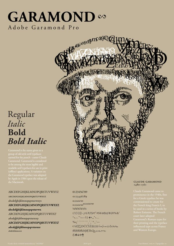 The Garamond font. A brief history of the most readable font created in the 1500s.
