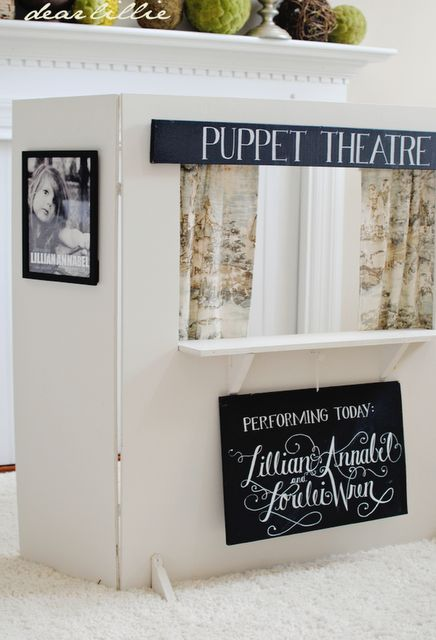 Dear Lillie: Puppet Theatre - the super cute lemonade stand doubles as a puppet show!! Other ideas = post office, dr. office, store, etc. etc., all from one easy frame! :)