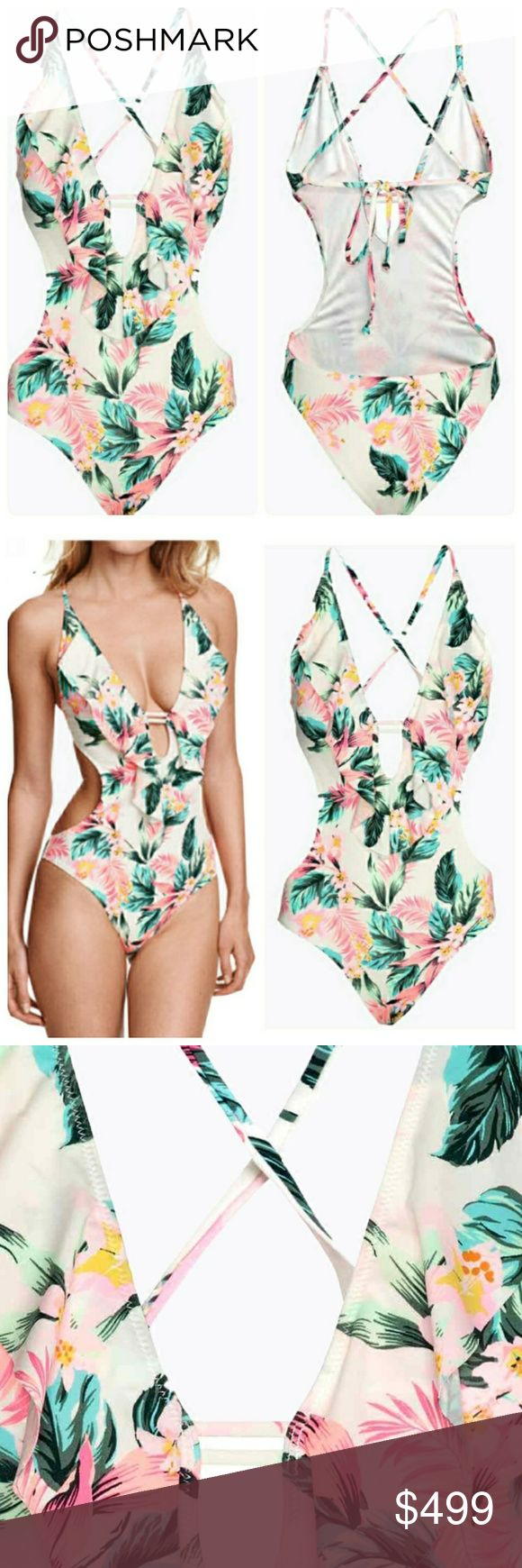 """COMING SOON Vintage Tropical Print Cutout Monokini Coming soon! """"Like"""" to be notified when item is in stock! Swim One Pieces"""